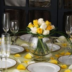 Wedding Center Piece Romantic Yellow & White Roses 6