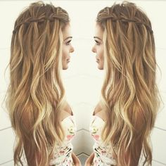 Balayage Wavy hair with Waterfall Braid Hairstyles - Casual Summer Hair Styles for Long Hair wasserfall, 10 Pretty Waterfall French Braid Hairstyles 2020 French Braid Hairstyles, Summer Hairstyles, Wedding Hairstyles, French Braids, Crazy Hairstyles, Casual Hairstyles For Long Hair, Trendy Hair, Hairstyles For Fat Faces, Festival Hairstyles