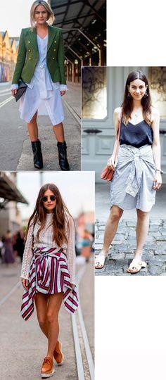 Street style look com camisa social como saia.