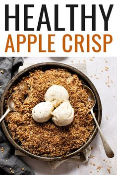 A delicious vegan and gluten-free apple crisp that's made with a crispy, nutty, oatmeal topping and cinnamon apples baked to perfection.