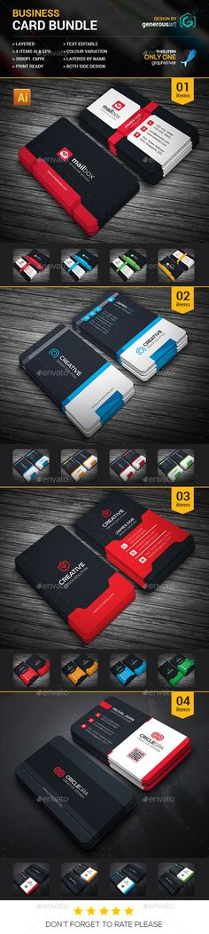 4 Business Cards Templates PSD. Download here: http://graphicriver.net/item/business-card-bundle-4-in-1/16396551?ref=ksioks