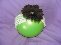 black flower, white crochet headband