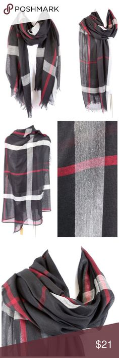 """B30 Black Red & Gray Modern Plaid Raw Edge Scarf ‼️ PRICE FIRM UNLESS BUNDLED WITH OTHER ITEMS FROM MY CLOSET ‼️   ABSOLUTELY STUNNING! Dress up any outfit! 100% polyester. Approximately 37"""" wide, 80"""" long.  Please check my closet for many more items including jewelry and designer clothing. Accessories Scarves & Wraps"""