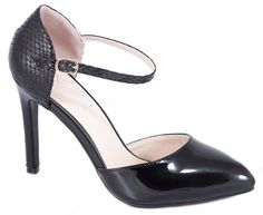 Pantofi cu toc - Pantofi negri de dama cu toc XF36-A-N - Zibra
