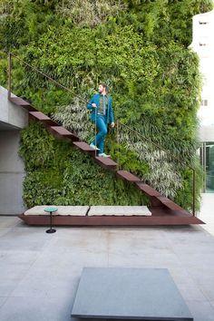 "Christian Liaigre: ""People Need Beauty"" Vertical Garden Design, Vertical Bar, Outdoor Stairs, Modern Stairs, Green Architecture, Interior Stairs, Staircase Design, Diy Garden Decor, Stairways"