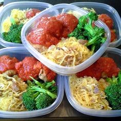 Low Carb Sunday Meal Prep for the office. Spaghetti Squash with some onion and olive oil, organic broccoli, 96% grass fed beef meatballs and organic ZERO sodium marinara sauce.