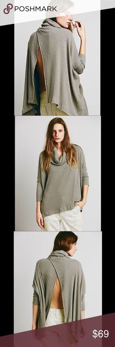 """FREE PEOPLE BEACH World Traveler Open Back Sweater Free People Beach World Traveler Split Back Pullover Sweater Top Tunic Shirt. Size FP Large. Retail price $98. Color is Taupe Beige. Mint condition with no flaws. No trades please 🖤A long-sleeve pullover crafted from a cozy tri-blend is topped with a flouncy cowl neck and artfully notched in the back for a cascading envelope hemline. - Cowl neck - 3/4 length dolman sleeves - Sharkbite hem - Approx. 24.5"""" shortest length, 27"""" longest length…"""