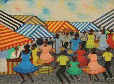 """HEITOR DOS PRAZERES (1898 - 1966) """"Feira Livre"""" Óleo s/ tela 46 x 61 cm ass. inf. direito"""