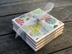 Tile coasters made with patterned paper