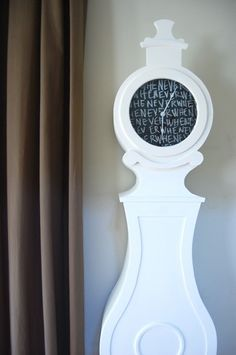 grandfather clock makeover - whimsy indeed! Make A Clock, Cute Clock, Diy Clock, Clock Ideas, Clock Painting, Clock Art, Recycled Furniture, Painted Furniture, Furniture Ideas