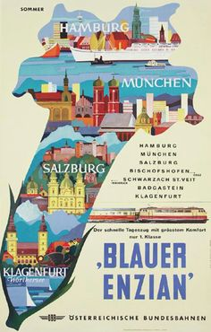 Austrian Railways Vintage Travel Poster Vintage Travel Posters, Vintage Ads, Vintage Images, Klagenfurt, Train Posters, Railway Posters, Salzburg, Train Map, Buses And Trains