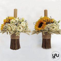 Lumanari cununie scurte floarea soarelui musetel - LC49 Christening, Wedding Flowers, Vase, Candles, Traditional, Table Decorations, Design, Home Decor, Trunks