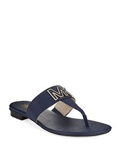 3f87c7041dc MICHAEL Michael Kors Hayley Thong Flat Sandals Siffiano Navy Leather Size  65 M   Find out more about the great product at the image link. Sandals For  Women