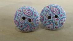 99p Button earrings Blue paisley post earrings by KelwayCraftsYorkshir