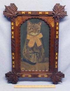 Antique 1890's Folk Art Cat Painting