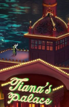 Love the subtlety of this film. Tiana dreams of having her restaurant, Tiana's Place, and she gets it after marrying Pince Naveen. Only now that she's a princess, her restaurant is named Tiana's Palace. :)