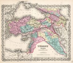 A beautiful 1855 first edition example of Colton's map of Turkey in Asia and the Caucuses. Covers from the Crimea south to the Nile Delta, west as far as the Aegean, and east to the Caspian Sea and the Persian Gulf. - See more at: http://www.geographicus.com/P/AntiqueMap/TurkeyIraq-colton-1855#sthash.U7kwfdjQ.dpuf
