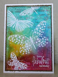 Personalized Butterfly or Birds Layered Birthday Card