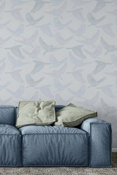 Soft shades of light blue and pale lilac for this delicate Bluebird Monochrome Wallpaper designed by Patricia Braune for WYNIL. Give any living room or bedroom a soothing and timeless feel. #illustration #birds #details