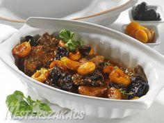 Fűszeres, aszalt gyümölcsös tarja Penne, Bacon, Pork, Beef, Ethnic Recipes, Kale Stir Fry, Meat, Pork Chops, Pens