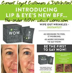 Introducing our newest product....It Works! WOW!!!! I am super excited about this product...works best in conjunction with our Lifting Lip & Eye Cream, but it can also be used by itself!! Only current Loyal Customers and Distributors can preorder their WOW before its official release date! Contact me ASAP to reserve your WOW before anyone else!!! Some of our leaders tried it out this weekend...I will post a few results!  Text: 865.621.1029