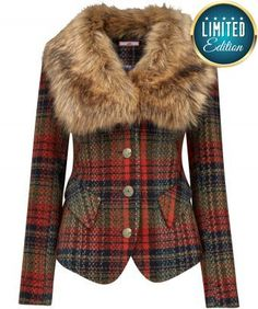 """Stay snug and stylish in this funky jacket with a plush faux fur collar. The flattering cut was inspired by a coat we found in a vintage shop in Amsterdam, and we've given it an elegant twist in traditional tartan. Approx Length: 64cm Our model is: 5'7"""""""