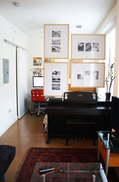 Hanging photo room divider