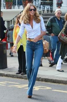 Elle McPherson - Trouser jeans, button up blouse