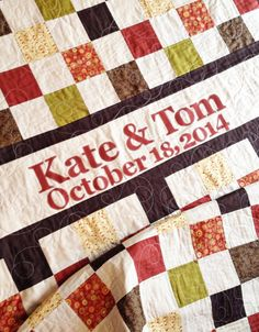 Wedding Quilt Patchwork Monogram Name Quilt- Custom Made- Perfect Wedding or Houswarming Gift- wedding guestbook- anniversary quilt- wedding