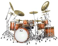 Pearl Orange big drumset