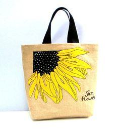 Handmade summer beach jute burlap tote bag with a Sunflower, artistic,embroidered, resort, book bag, beach bag, Sunflower, diaper bag