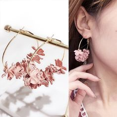 198faacbc US $1.14 50% OFF|New Design Hoop Earrings For Women Fabric Flower Pending  Gold Color Circle Pendientes Female Jewelry Fashion 2018 Argola-in Hoop  Earrings ...