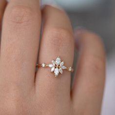 Diamond Flower, Diamond Cluster Ring, Diamond Jewelry, Diamond Cuts, Silver Jewelry, Jewelry Rings, Black Diamond, Fine Jewelry, Opal Jewelry