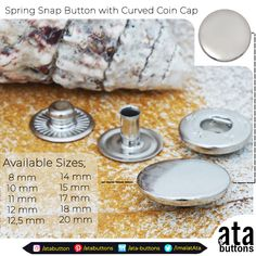 In addition to the spring snap buttons with coin cap which we are currently producing, we have started the production of coin cap spring snap buttons with curved on top.  #Textile #atabuttons #accesorries #textileaccessories #snapbutton