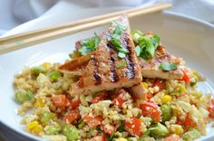 """Cauliflower Fried """"Rice"""" with Grilled Asian Tofu - Coconut and Berries Tofu Recipes, Vegan Recipes Easy, Vegetable Recipes, Vegetarian Recipes, Cauliflower Fried Rice, Smashed Cauliflower, Grilled Tofu, Dinner Dishes, Main Dishes"""