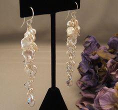 Keishi Pearl Wedding Day Earrings Long Earrings by BridalDiamantes, $58.00