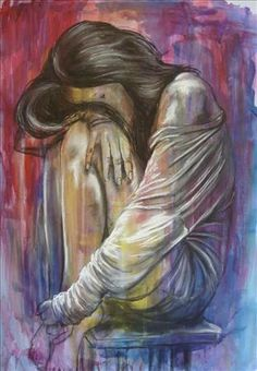 Anxiety painting The Forgotten, Women & Depression theme, Deborah Cauchi, SAA Professional Members Galleries Illusion Kunst, Sad Art, Sad Girl Art, A Level Art, Gcse Art, Art Inspo, Painting & Drawing, Amazing Art, Awesome