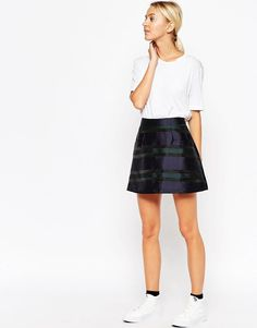 ASOS White | ASOS WHITE Mini Skirt in Stripe Organza at ASOS