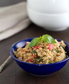 tomato basil quinoa -- substitute w/ fresh tomato and no cheese