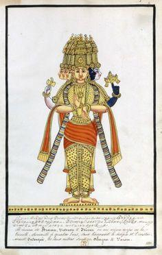 The Hindu Trimurti - Brahma, Vishnu and Shiva  Title: Peintures de divinités et souverains de l'Inde Made: 1831 (via Bibliothèque nationale de France)