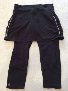 Athleta Skirted Leggings Medium Tall Crops Black Womens Yoga Run Fitness Skirt #Athleta #PantsTightsLeggings
