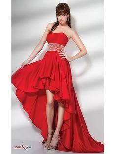 Asymmetric Charming Beading Satin Long Red Prom Dress/ Evening dress