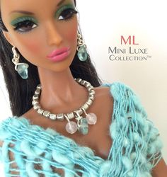 Doll Jewelry Aqua Stone and Pink Quartz by MiniLuxeCollection