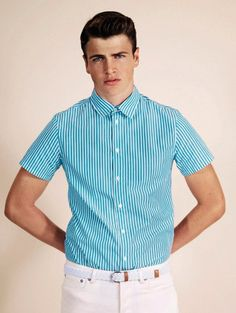 Fucking Young! » A.P.C. Pre-Spring/Summer 2013 Lookbook...turquoise and white pinstripe short sleeve shirt and white pants.