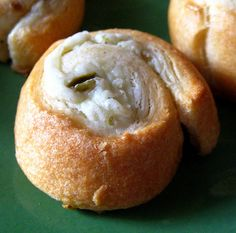 Cream Cheese Jalapeno Crescent Poppers - I am trying these!  Just a can of crescent rolls, a can of diced jalapeno's and 6 oz  Cream Cheese and a Tbsp of Sugar!