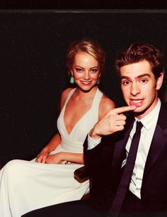Emma Stone and Andrew Garfield; Spiderman