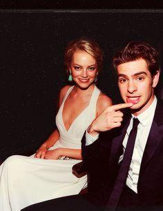 Emma Stone and Andrew Garfield; Spiderman