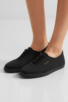 The Row - Dean Embroidered Canvas Sneakers - Black - IT40.5