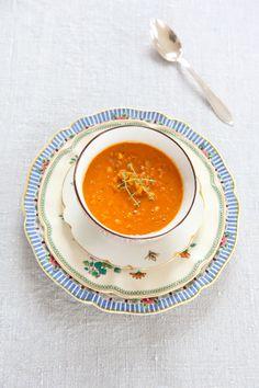 vegetarisk röd linssoppa