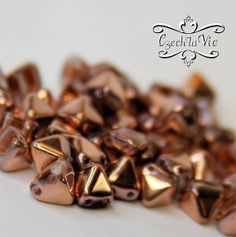 NEW Pyramid Beads 6x6mm  Crystal Capri Gold 27101 by CzechLaVie, $3.25